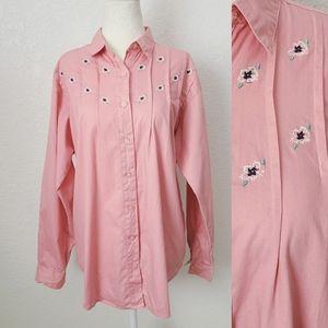 90s Vintage Pink Floral Embroidered Western Shirt